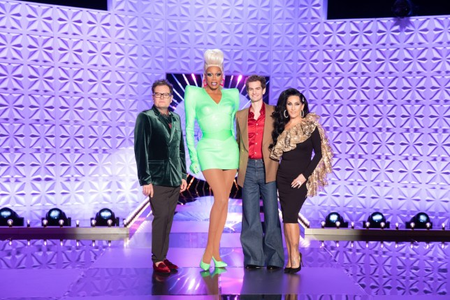 Alan Carr, RuPaul, Andrew Garfield and Michelle Visage on RuPaul's Drag Race UK