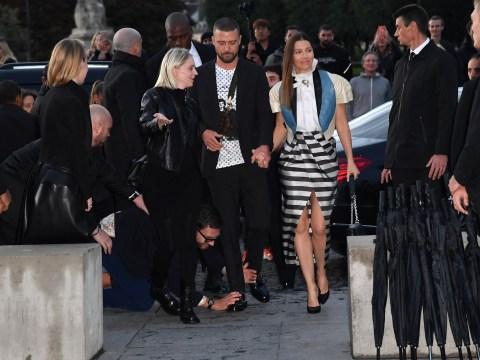 Justin Timberlake laughs off his red carpet run-in with prankster Vitalii Sediuk at Paris Fashion Week