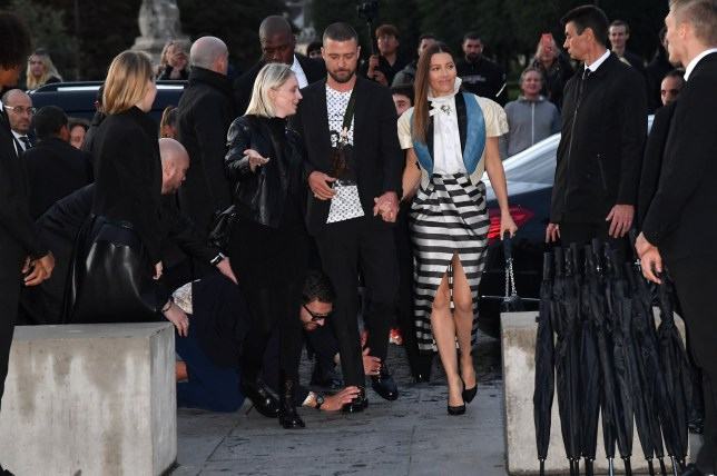 PARIS, FRANCE - OCTOBER 01: Justin Timberlake and Jessica Biel attend the Louis Vuitton Womenswear Spring/Summer 2020 show as part of Paris Fashion Week on October 01, 2019 in Paris, France. (Photo by Jacopo Raule/Getty Images)