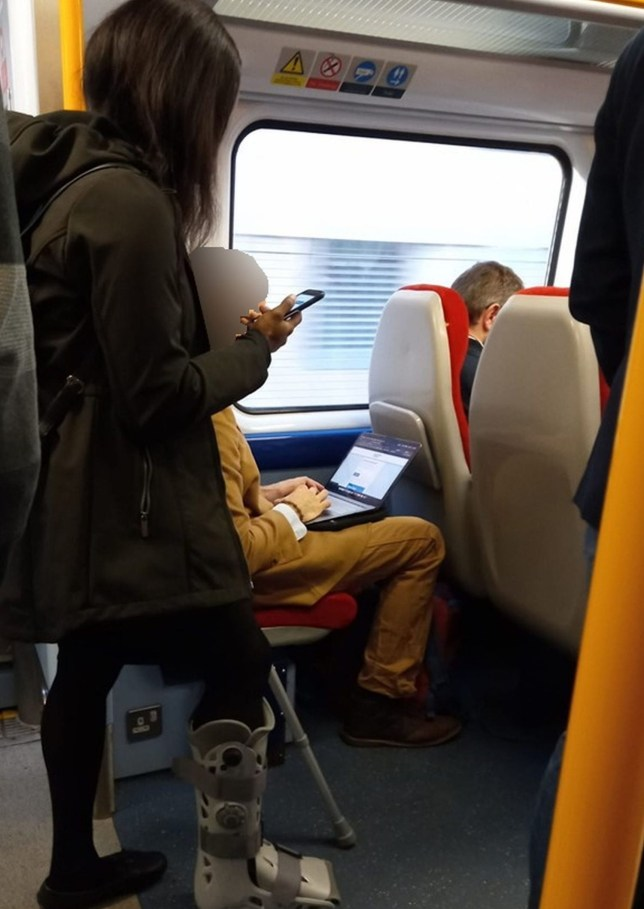 The picture was taken on the train journey from Clapham Junction to Isleworth in London on Tuesday (Picture: Kennedy News and Media)