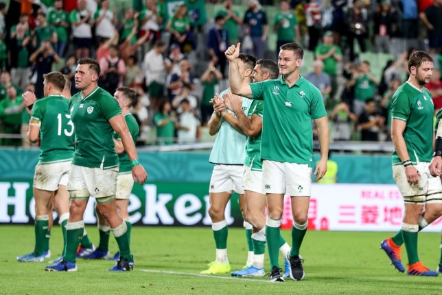 **IMAGE OUTSIDE OF SUBSCRIPTION DEAL, FEES APPLY, PLEASE CONTACT YOUR ACCOUNT MANAGER** Mandatory Credit: Photo by Dan Sheridan/INPHO/REX (10434800da) Ireland vs Russia. Ireland's Jonathan Sexton celebrates after the game 2019 Rugby World Cup Pool A, Kobe Misaki Stadium, Kobe City, Japan - 03 Oct 2019
