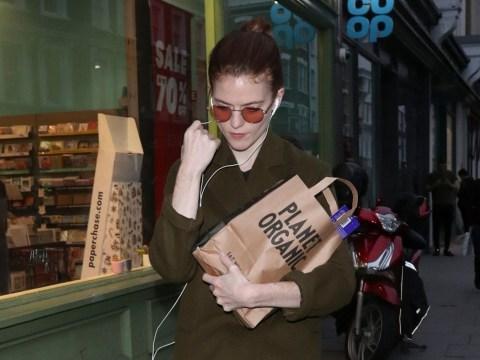 Rose Leslie clutches onto organic haul after husband Kit Harington's £150 almond milk prank