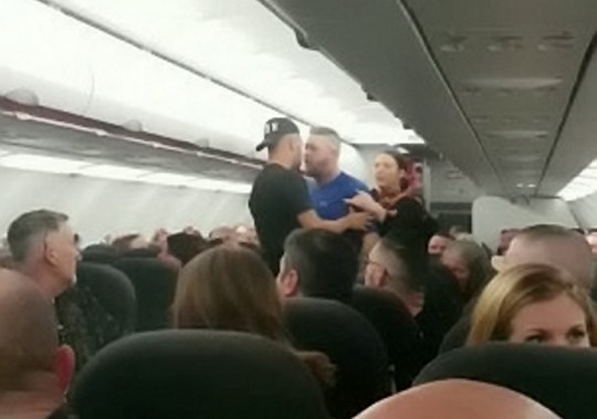 Onboard video captures the fight onboard a Jet2 flight from Manchester to Tenerife