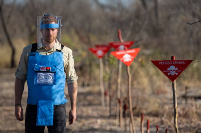 File photo dated 27/9/2019 of the Duke of Sussex walking through a minefield in Dirico, Angola, during a visit to see the work of landmine clearance charity the Halo Trust. The UK is to give Zimbabwe up to ?2 million to help efforts to remove landmines - after the Duke of Sussex raised the issue during his recent tour to southern Africa. PA Photo. Issue date: Sunday October 6, 2019. See PA story POLITICS Mines. Photo credit should read: Dominic Lipinski/PA Wire