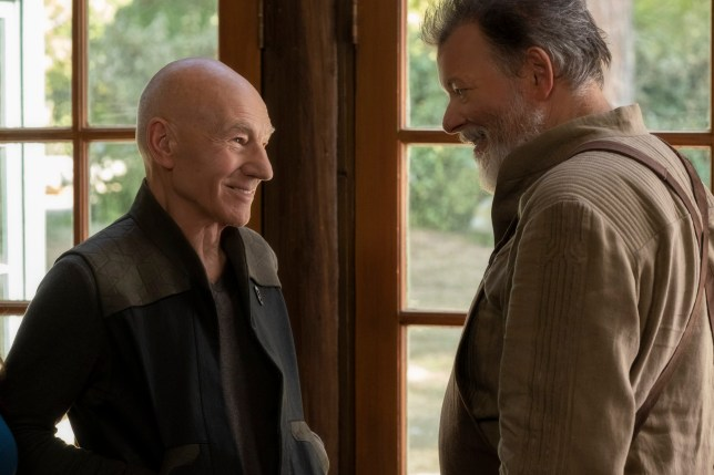 Pictured (l-r): Patrick Stewart as Picard; Jonathan Frakes as Riker of the the CBS All Access series STAR TREK: PICARD. Photo Cr: Trae Patton/CBS ?2019 CBS Interactive, Inc. All Rights Reserved.