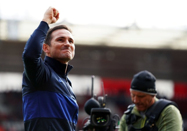 """Chelsea manager Frank Lampard celebrates victory after the Premier League match at St Mary's Stadium, Southampton. PA Photo. Picture date: Sunday October 6, 2019. See PA story SOCCER Southampton. Photo credit should read: John Walton/PA Wire. RESTRICTIONS: EDITORIAL USE ONLY No use with unauthorised audio, video, data, fixture lists, club/league logos or """"live"""" services. Online in-match use limited to 120 images, no video emulation. No use in betting, games or single club/league/player publications."""