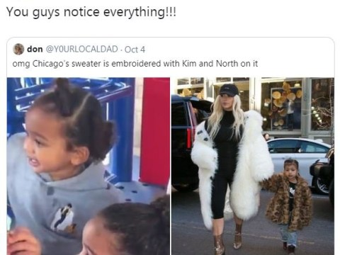 Kim Kardashian's daughter Chicago has a jumper embroidered with an image of her mum and sister North and it is instantly iconic