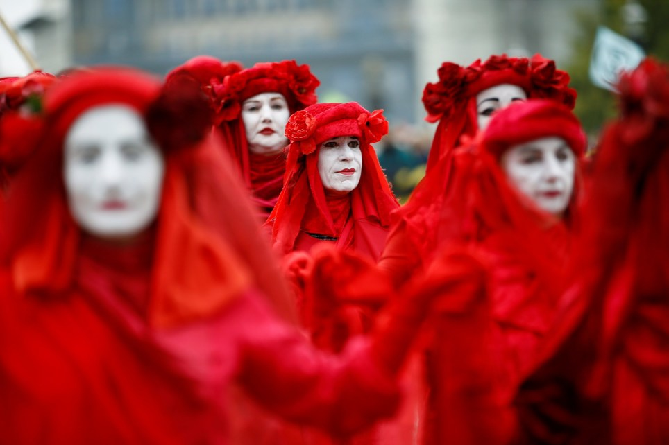 """The Red Brigade"" activists take part in the Extinction Rebellion protest in London, Britain October 7, 2019. REUTERS/Henry Nicholls"