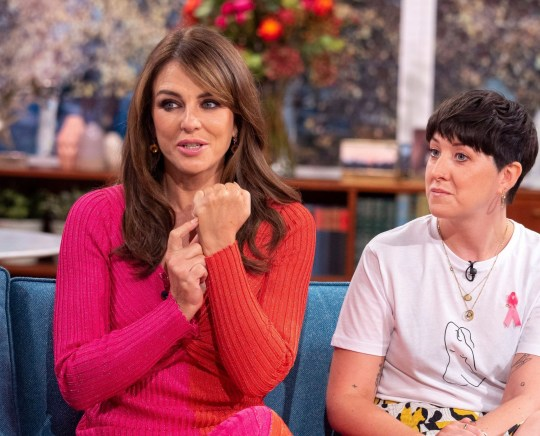 A photo of Elizabeth Hurley and Lauren Mahon on This Morning