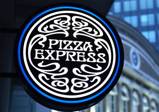 A general view of a Pizza Express sign