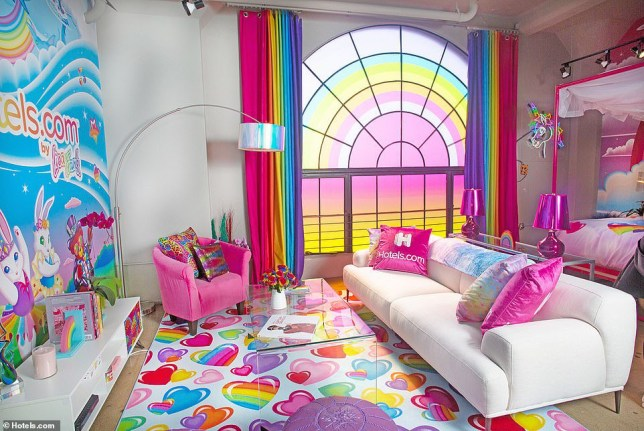 Iconic rainbow 90s brand Lisa Frank has taken over this hotel suite