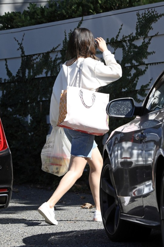 Los Angeles, CA - *EXCLUSIVE* - Selena Gomez seen running into the home of One Direction's Niall Horan in Los Angeles, sparking dating rumors the weekend after ex Justin Bieber officially tied the knot with model Hailey Baldwin. The singer carried a bag of food, including some ice cream and fruit salad. *Shot on October 5, 2019* Pictured: Selena Gomez BACKGRID USA 9 OCTOBER 2019 BYLINE MUST READ: Clint Brewer / BACKGRID USA: +1 310 798 9111 / usasales@backgrid.com UK: +44 208 344 2007 / uksales@backgrid.com *UK Clients - Pictures Containing Children Please Pixelate Face Prior To Publication*
