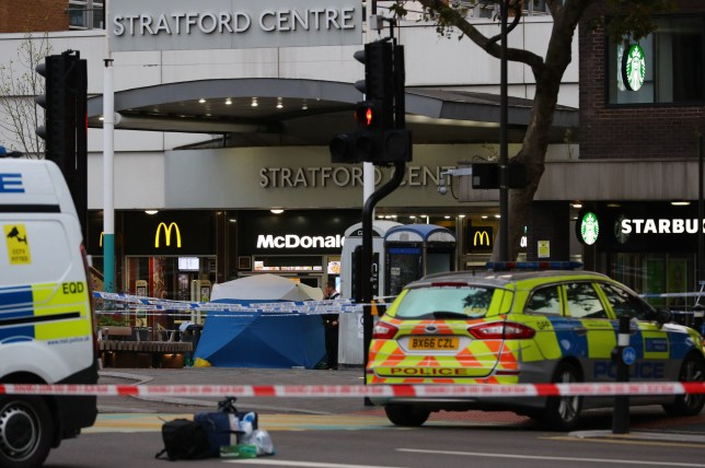 Police in Stratford, east London after a male teenager was fatally stabbed outside Stratford Broadway shortly after 3pm on Thursday. PA Photo. Picture date: Thursday October 10, 2019. See PA story POLICE Stratford. Photo credit should read: Aaron Chown/PA Wire
