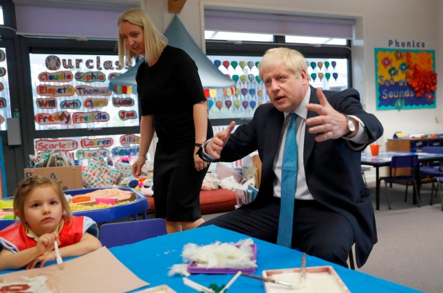 Britain's Prime Minister Boris Johnson gestures as he participates in an art class with four year-old Scarlet Fickling at St Mary's and All Saints Primary School in Beaconsfield, Buckinghamshire on October 11, 2019. (Photo by Alastair Grant / POOL / AFP) (Photo by ALASTAIR GRANT/POOL/AFP via Getty Images)