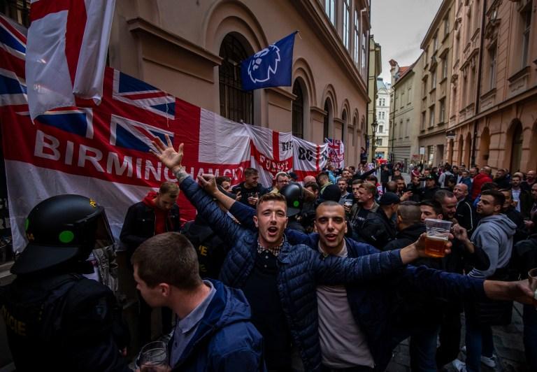 PRAGUE, CZECH REPUBLIC - OCTOBER 11: England fans in Prague ahead of the European Championship qualifying match between Czech Republic and England on October 11, 2019 in Prague, Czech Republic. (Photo by Gabriel Kuchta/Getty Images)
