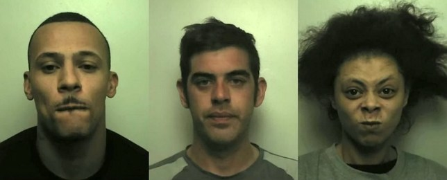 (L-R) Cameron Halls, 33, Marc Spittle, 34, and Alisha Dale, 29. See SWNS story SWMDkidnap. Three thugs, armed with knives, have been jailed after KIDNAPPING a man outside a pub on New Years Eve in a robbery attempt. Cameron Halls, 33, Marc Spittle, 34, and Alisha Dale, 29, picked up their victim from a boozer in Cannock town centre on 31 December last year. The man, who was in his 20s and known to Spittle, was believed to have recently come into money and was targeted by the trio. Spittle in particular was anxious to pay off some debts.