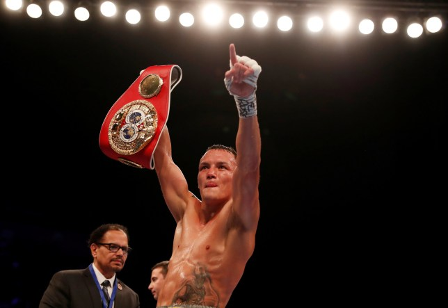 Boxing - Josh Warrington v Sofiane Takoucht - IBF World Featherweight Title - First Direct Arena, Leeds, Britain - October 12, 2019 Josh Warrington celebrates after knocking down Sofiane Takoucht Action Images via Reuters/Lee Smith