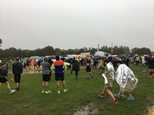 People prior to the start of the Perkins Great Eastern Run in Peterborough which was cancelled on Sunday following a police incident. PA Photo. Picture date: Sunday October 13, 2019. See PA story POLICE Peterborough . Photo credit should read: Sam Russell/PA Wire