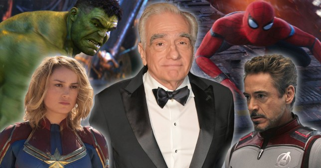 martin scorsese, captain marvel, iron man, spider-man and hulk