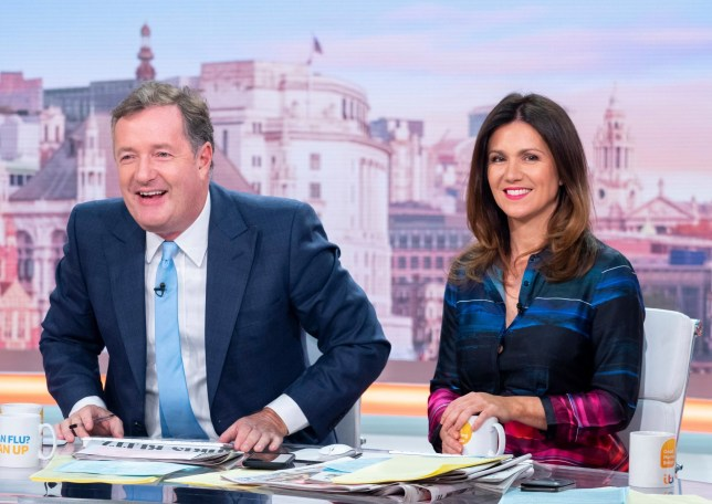 Editorial use only Mandatory Credit: Photo by Ken McKay/ITV/REX (10443517ax) Piers Morgan and Susanna Reid 'Good Morning Britain' TV show, London, UK - 14 Oct 2019