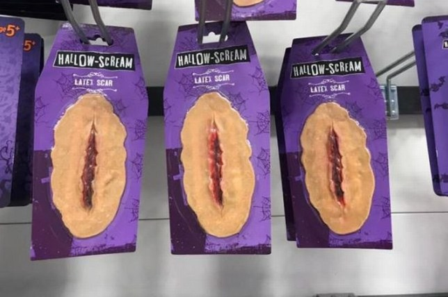 Shoppers think this halloween facial scar costume looks like a vagina