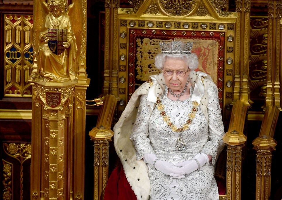 Britain's Queen Elizabeth II sits on the Sovereign's throne in the House of Lords to deliver the Queen's Speech at the State Opening of Parliament in the Houses of Parliament in London on October 14, 2019. - The State Opening of Parliament is where Queen Elizabeth II performs her ceremonial duty of informing parliament about the government's agenda for the coming year in a Queen's Speech. (Photo by Victoria Jones / POOL / AFP) (Photo by VICTORIA JONES/POOL/AFP via Getty Images)