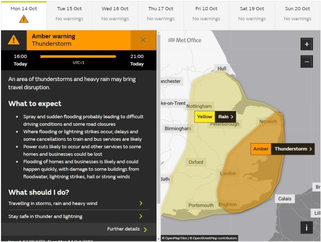 Met Office issues rare amber thunderstorm alert for tonight Provider: Met Office
