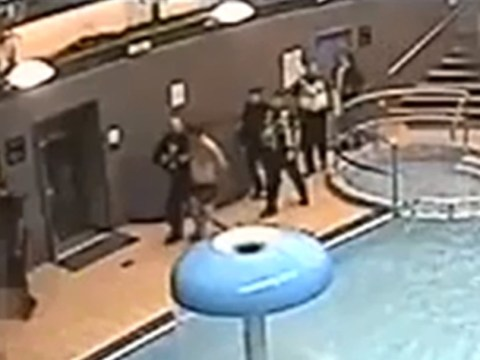 Moment crooks are yanked out of hotel hot tub to be arrested