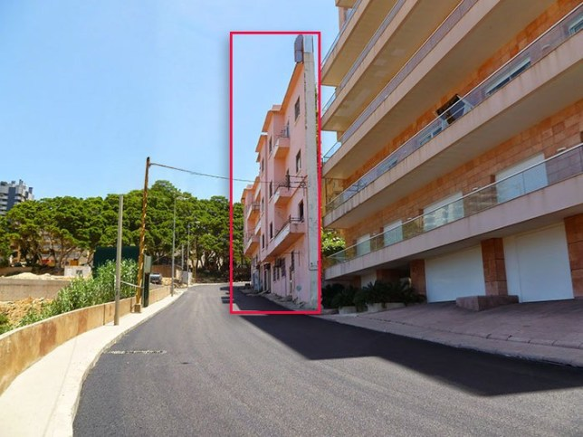 Picture of 'the thinnest house ever' in front of another building