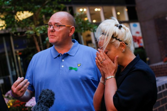 Tim Dunn and Charlotte Charles, parents of British teen Harry Dunn who was killed in a car crash on his motorcycle, allegedly by the wife of an American diplomat, speak during a interview in the Manhattan borough of New York City, New York, U.S., October 15, 2019. REUTERS/Eduardo Munoz