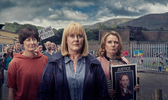 Greta (Eiry Thomas), Polly (Sarah Lancashire) and Angela (Joanna Scanlan) from Channel 4's The Accident