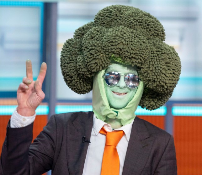 Editorial use only Mandatory Credit: Photo by Ken McKay/ITV/REX (10445424l) Mr Brocoli 'Good Morning Britain' TV show, London, UK - 16 Oct 2019 ENVIRONMENTAL PROTESTS 'Mr Brocoli' dressed in costume and XR spokesperson Kerri Waters