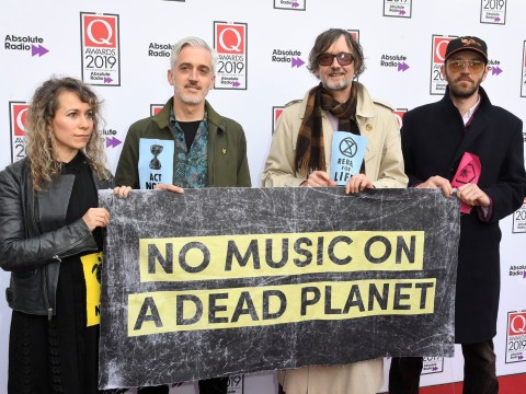 Jarvis Cocker rocks up to Q Awards 2019 with Extinction Rebellion protestors holding 'rebel for life' banners