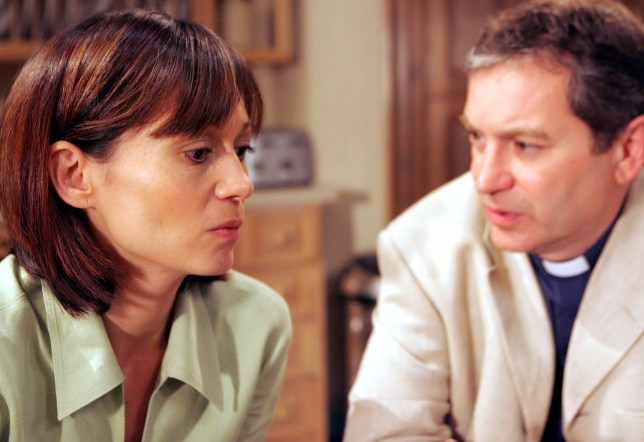Editorial use only Mandatory Credit: Photo by ITV/REX (675151pf) 'Emmerdale' - Zoe Tate (Leah Bracknell) and Ashley Thomas (John Middleton) ITV ARCHIVE Zoe Tate (Leah Bracknell) tells Ashley Thomas (John Middleton