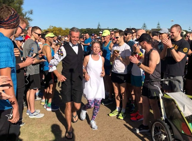 Louise and Wil Gardner on their parkrun wedding day