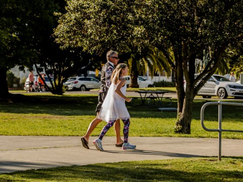 Bride and groom who met through running replace wedding dance with a 5k