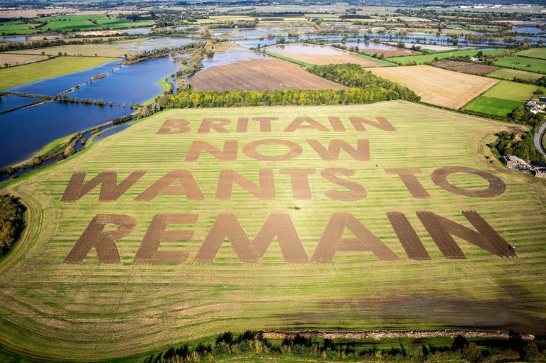 Undated handout photo issued by Led By Donkeys of a Brexit protest message which has been ploughed in 40metre high letters in a field at Manor Farm, Water Eaton, Wiltshire. PA Photo. Issue date: Friday October 18, 2019. See PA story POLITICS Brexit Field. Photo credit should read: Will Rose/Led By Donkeys/PA Wire NOTE TO EDITORS: This handout photo may only be used in for editorial reporting purposes for the contemporaneous illustration of events, things or the people in the image or facts mentioned in the caption. Reuse of the picture may require further permission from the copyright holder.