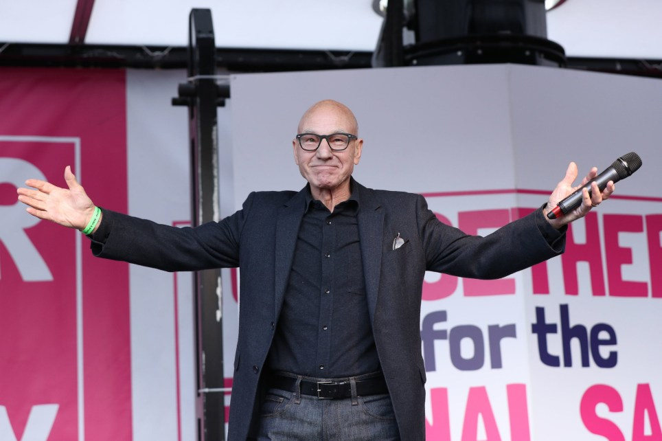 """Actor Patrick Stewart speaks on stage during an Anti-Brexit, Let Us Be Heard rally in Parliament Square in London, after Prime Minister Boris Johnson delivered a statement in the House of Commons, on his new Brexit deal on what has been dubbed """"Super Saturday"""". PA Photo. Picture date: Saturday October 19, 2019. See PA story POLITICS Brexit. Photo credit should read: Yui Mok/PA Wire"""