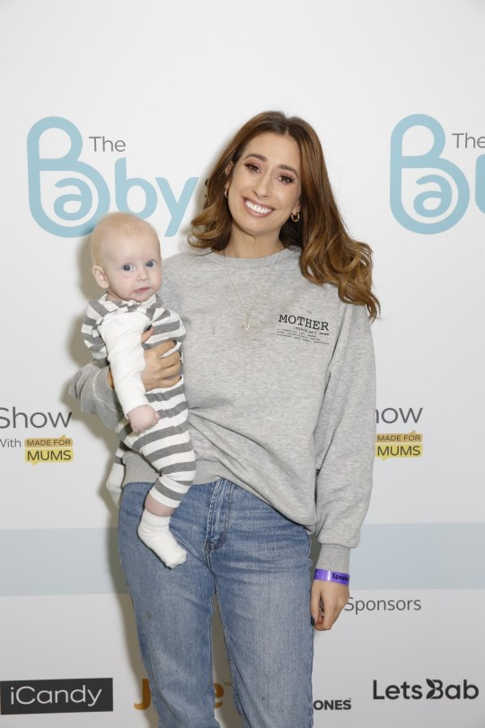 BGUK_1758686 - LONDON, UNITED KINGDOM - *EXCLUSIVE* - Baby Show Olympia 2019 in London Pictured: Stacey Solomon with baby Rex BACKGRID UK 20 OCTOBER 2019 BYLINE MUST READ: Andy Barnes / BACKGRID UK: +44 208 344 2007 / uksales@backgrid.com USA: +1 310 798 9111 / usasales@backgrid.com *UK Clients - Pictures Containing Children Please Pixelate Face Prior To Publication*