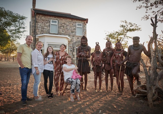 Scarlett Moffatt and family with Mboki, Muvii, Ueripanga, Kaitaarua and Kandisiko in The British Tribe Next Door.