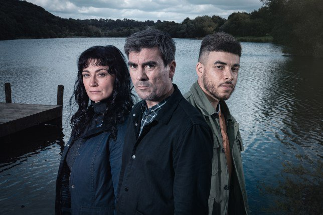 Emmerdale characters Cain Dingle (Jeff Hordley), Moira Barton (Natalie J Robb) and Nate Robinson (Jurell Carter)
