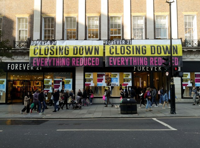 Mandatory Credit: Photo by Jack Dredd/REX (10453438b) Forever 21 is set to close after filling for bankruptcy in September Forever 21 set to close, Oxford St, London, UK - 22 Oct 2019
