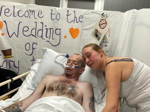 Father-of-six marries his girlfriend from his hospital bed just hours before dying of cancer