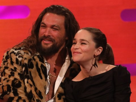 Jason Momoa leaves Game Of Thrones fans swooning as he runs to greet Emilia Clarke