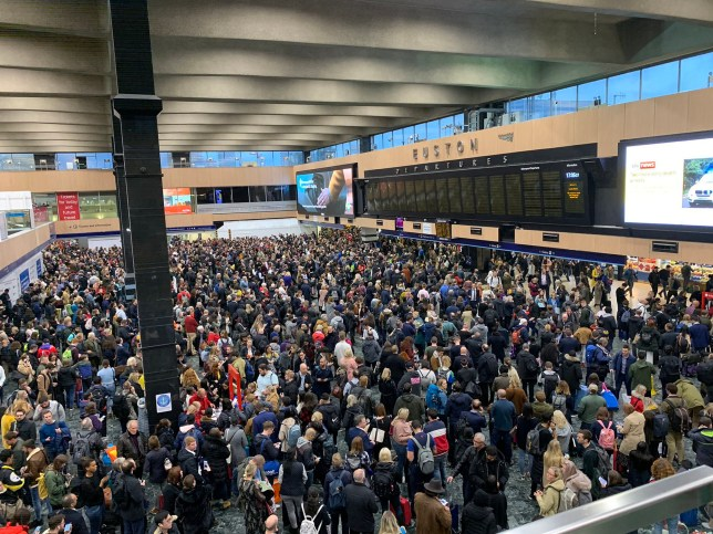"""Handout image taken with permission from the twitter feed of Munir Pirmohamed showing crowds at Euston Station in London after all services were suspended during rush hour. PA Photo. Issue date: Friday October 25, 2019. National Rail said all lines between Euston and Watford Junction were blocked and trains will be cancelled or amended due to an """"ongoing trespass incident"""". See PA story RAIL Euston. Photo credit should read: Munir Pirmohamed/PA Wire NOTE TO EDITORS: This handout photo may only be used in for editorial reporting purposes for the contemporaneous illustration of events, things or the people in the image or facts mentioned in the caption. Reuse of the picture may require further permission from the copyright holder."""