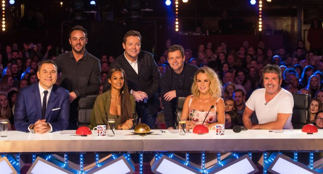 Editorial use only. No book publishing Mandatory Credit: Photo by Dymond/Thames/Syco/REX (9351090a) Anthony McPartlin, Stephen Mulhern, Declan Donnelly, David Walliams, Alesha Dixon, Amanda Holden and Simon Cowell 'Britain's Got Talent' TV show, Judges, London, UK - 01 Feb 2018