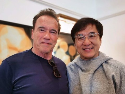 Arnold Schwarzenegger fanboys over 'hero' Jackie Chan and it's too much action man for one photo