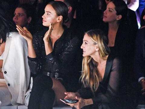 Irina Shayk and Sarah Jessica Parker match in monochrome at Intimissimi lingerie show