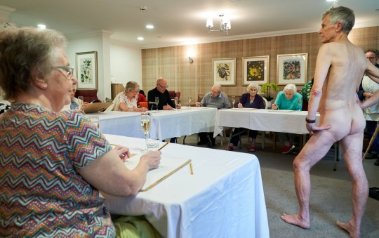 Residents at Sherwood Grange drawing the naked male model