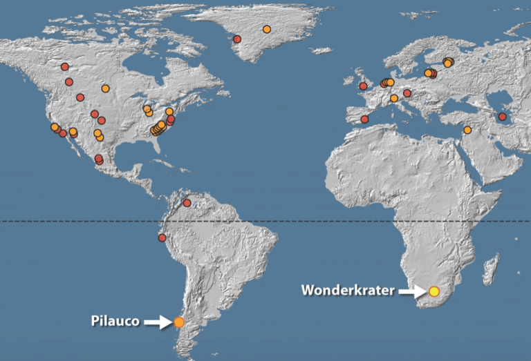A map showing the 'platinum spikes' found across the world